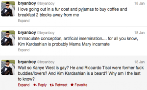 bryan boy's tweets on kanye being gay
